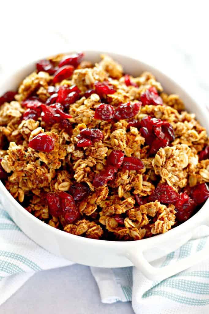 vegan granola in a white bowl
