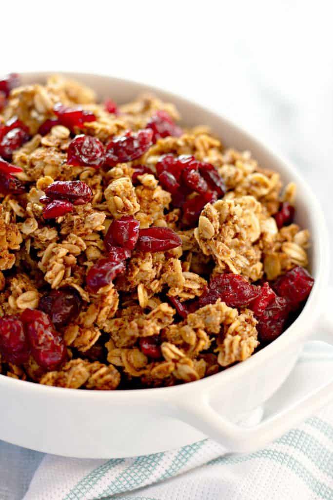closeup of homemade granola