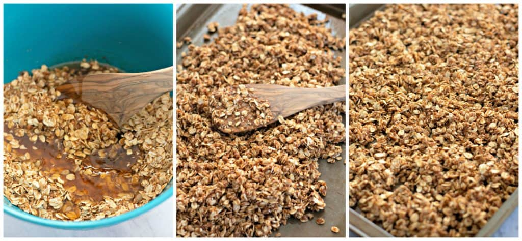 mixing up homemade granola and spreading it onto a baking sheet