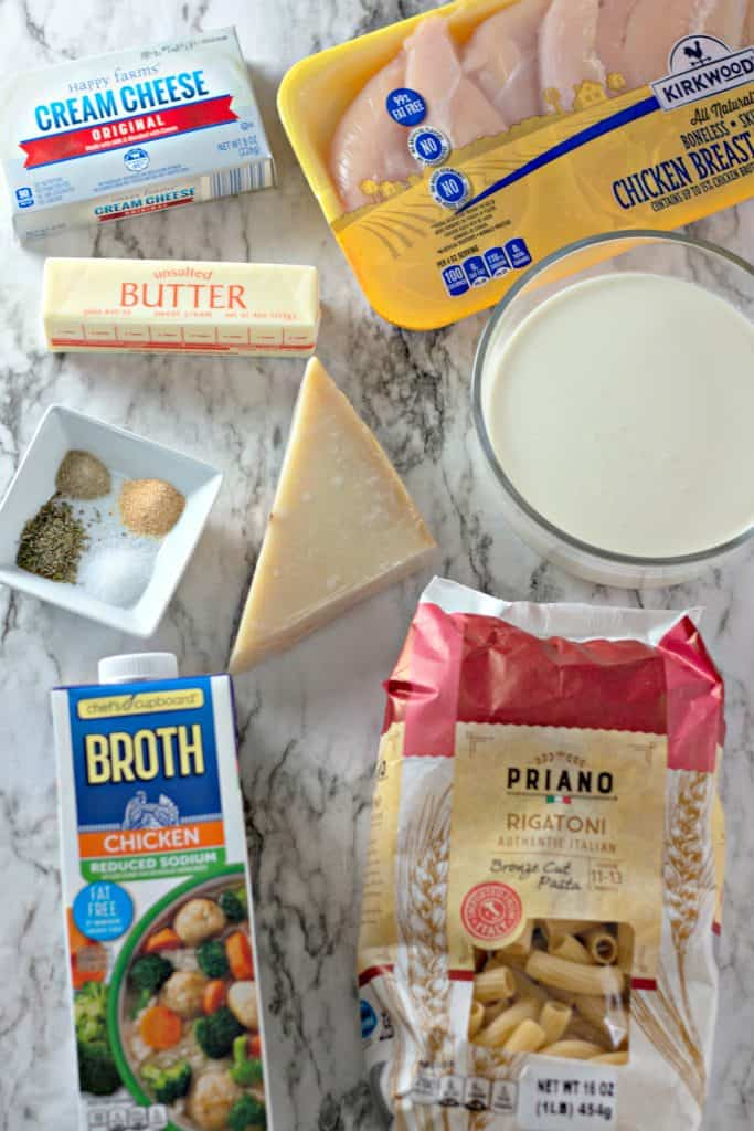 the ingredients to make Slow Cooker Chicken Alfredo