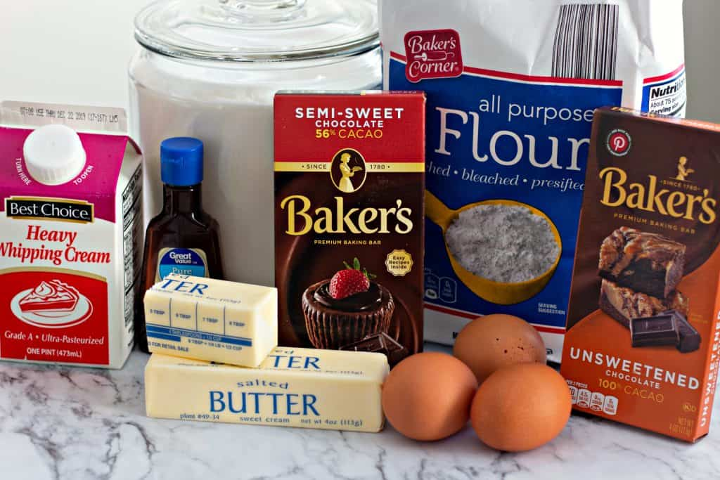 ingredients to make Chocolate Fudge Drop Cookies