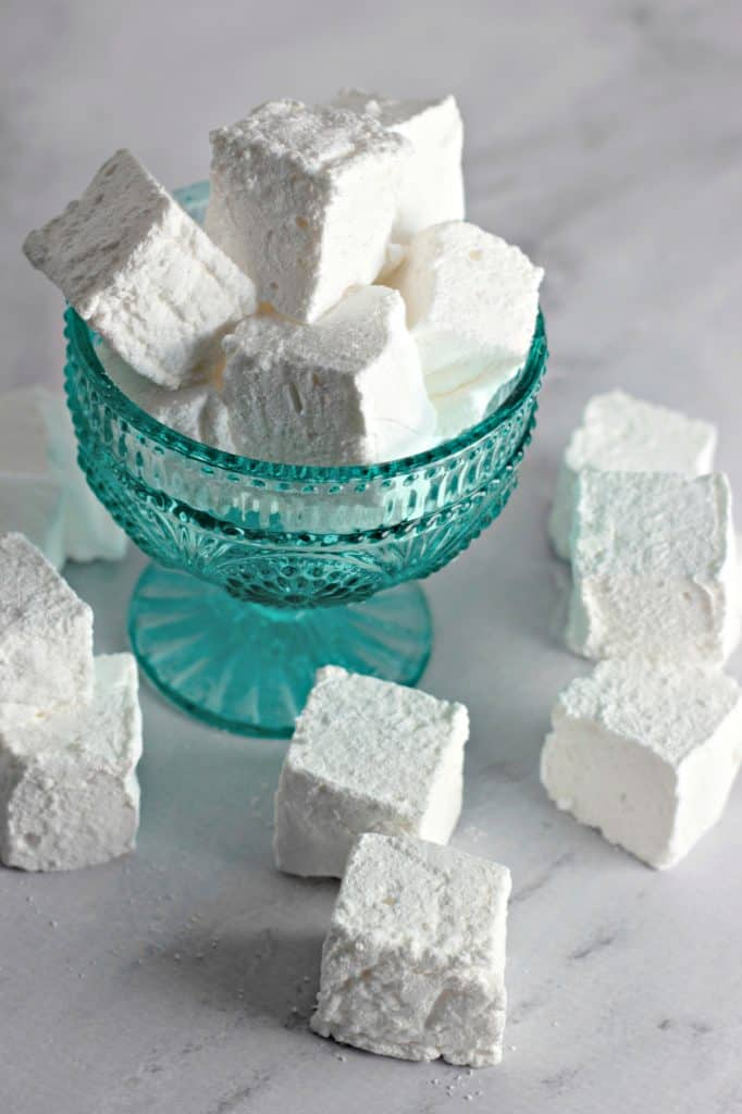 Homemade Marshmallows in a teal dish