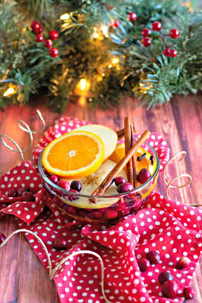 Natural Simmering Potpourri under a Christmas tree