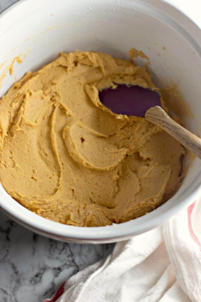 finished pumpkin cookie batter in a bowl