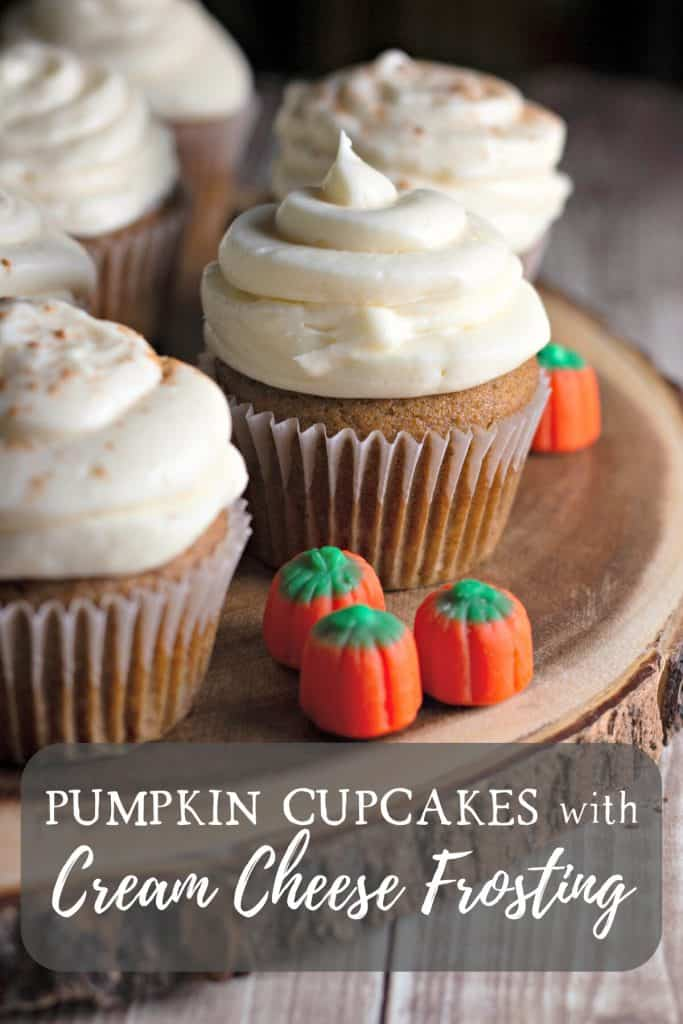 Pumpkin Cupcakes with Cream Cheese Frosting on Pinterest