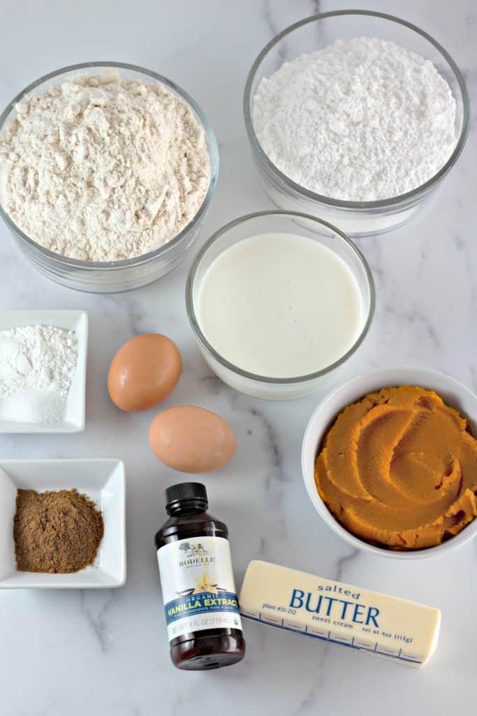 ingredients to make Pumpkin Buttermilk Donuts