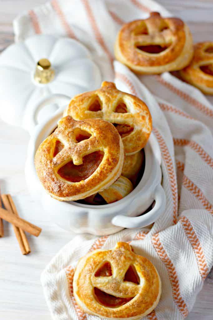 Pumpkin Hand Pies in a white pumpkin bowl