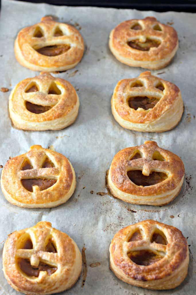 Pumpkin Hand Pies on a cookie sheet