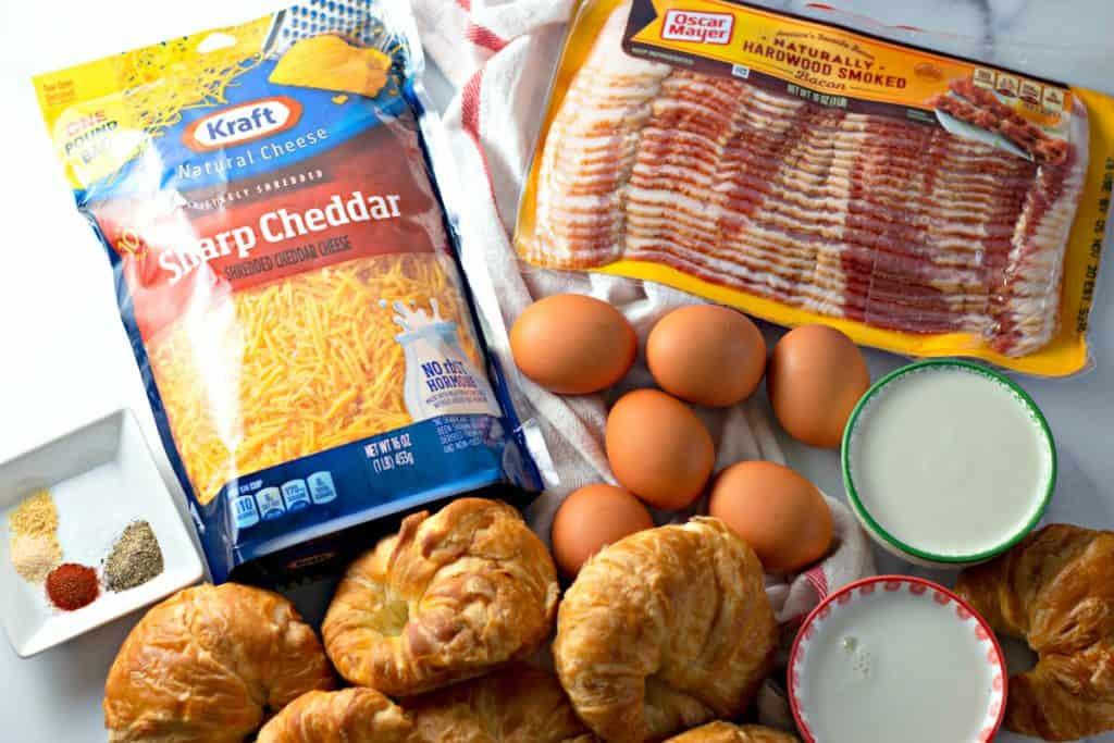 ingredients to make Overnight Bacon Croissant Breakfast Casserole