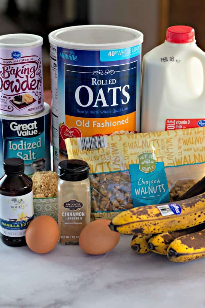 ingredients to make Banana Bread Baked Oatmeal