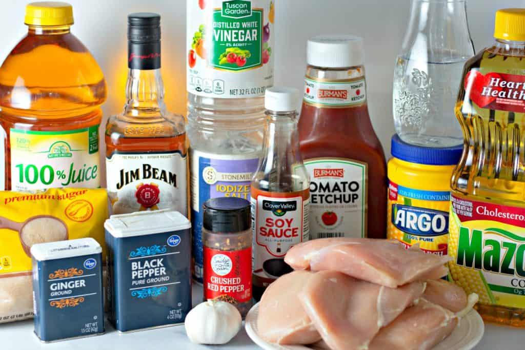 ingredients to make Sweet Bourbon Chicken