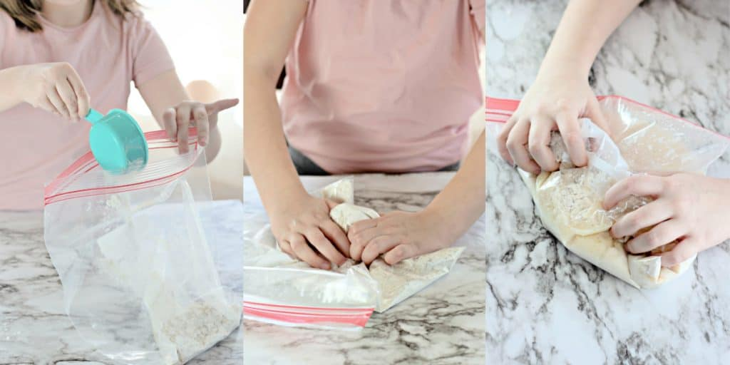 child making homemade bread in a Ziploc bag.